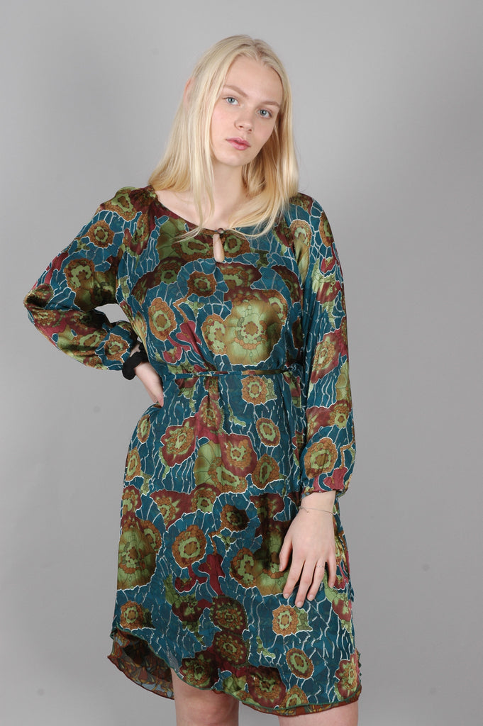 """Serena"" Reversible silk dress  w. long sleeves. Print ""Petrox/Mushroom"""