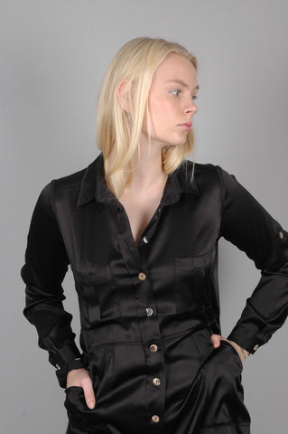 "Shirt dress ""Sahabo"" in stretch silk satin. Black"