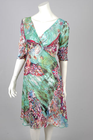 "Copy of Marge - reversible silk satin devoré dress in print ""Happays/Freeline"""