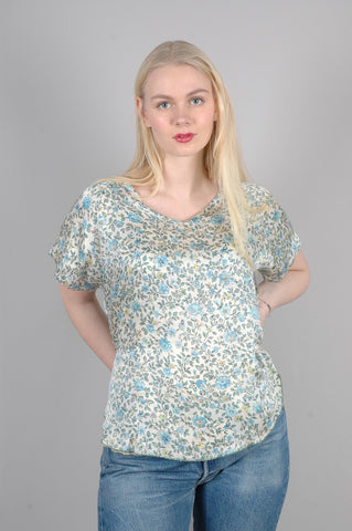 "Reversible silk top in two layers of silk "" Tess"" prints: ""Lillies/Forgetmenot"""