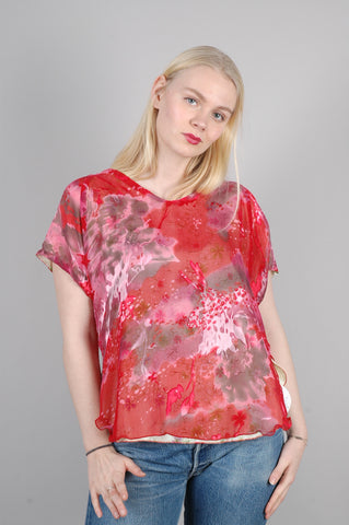 "Reversible silk top in two layers of silk "" Tess"" prints: ""Rishi/Flyfleur"""