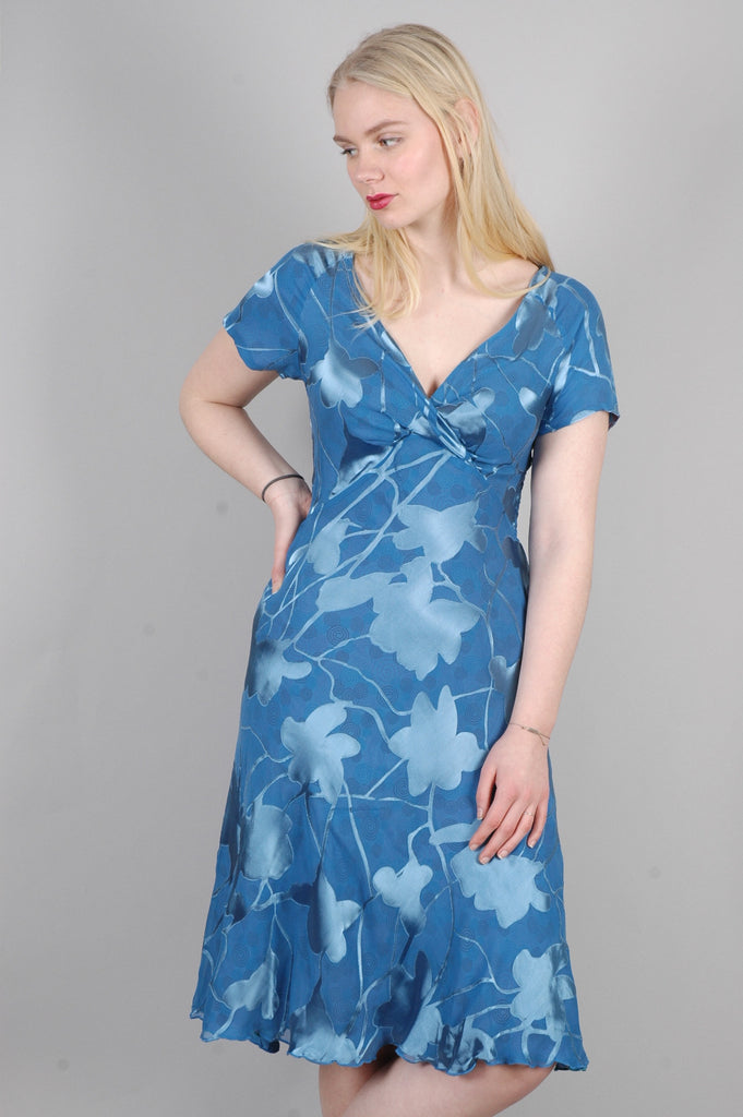 "Magiella - reversible short sleeve silk dress print ""Bluthee/Bliral"""