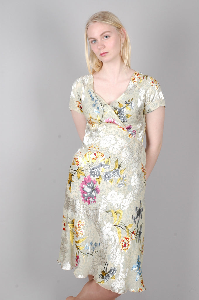 "Magiella - reversible short sleeve silk dress print ""Lillies/Forgetmenot"""