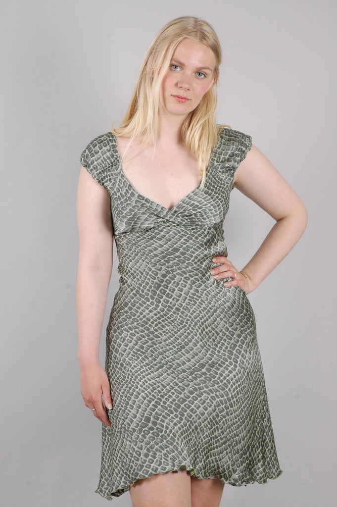 "Marelia, reversible dress in 100% silk satin georgette + silk devoré ""Croco/Gebra"""