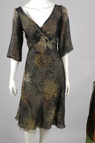 """Marvellous"" Reversible silk dress. Print ""Bluweed/Dark Snake"""