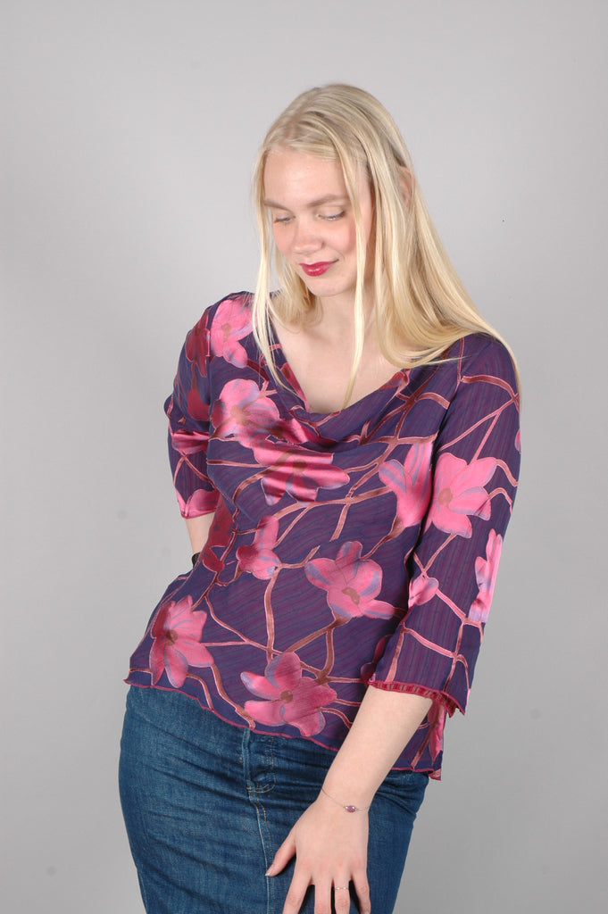 """Thinkatop"" Reversible silk blouse. Prints"" Renim/Ripe"""