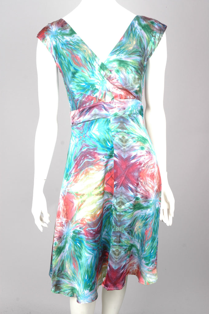 """Magda"" Stretch silk crepe-satin dress w. adjustable straps. Print: ""MSO"""