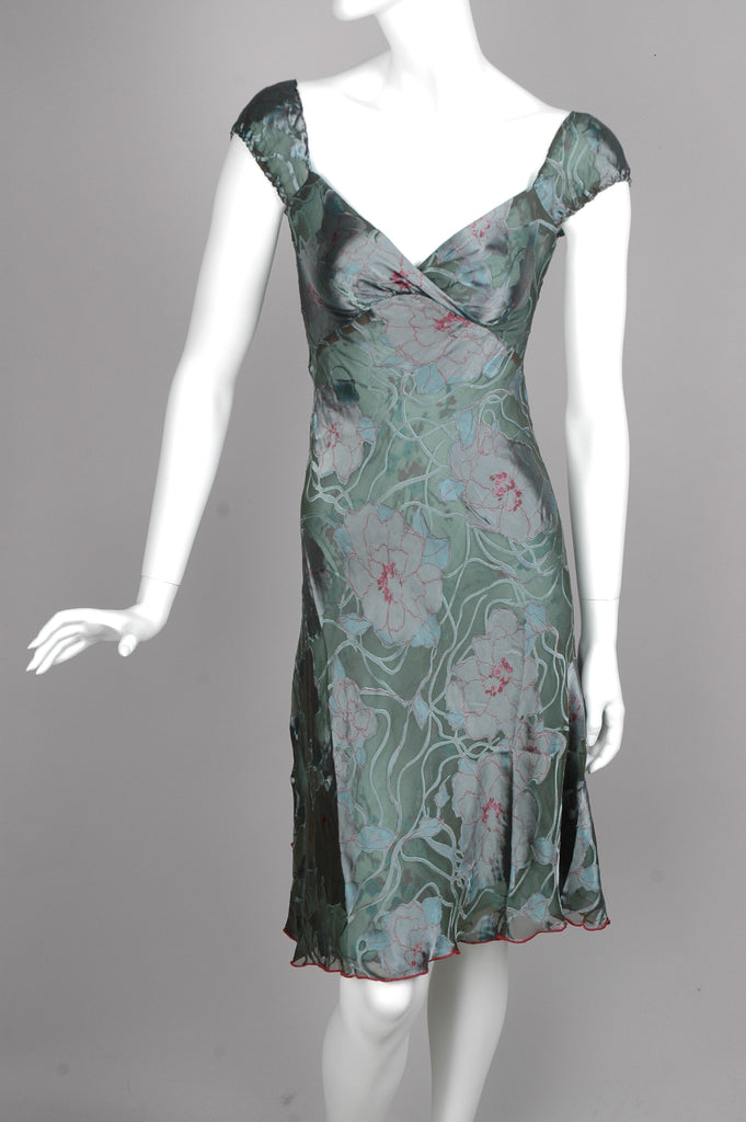 """Margrethe"" Reversible dress in two layers of silk devoré. ""Netrose/Blossom"""