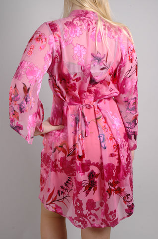 """Kimilong"" Long, open top, kimono style. Print ""Pink Lillies"""