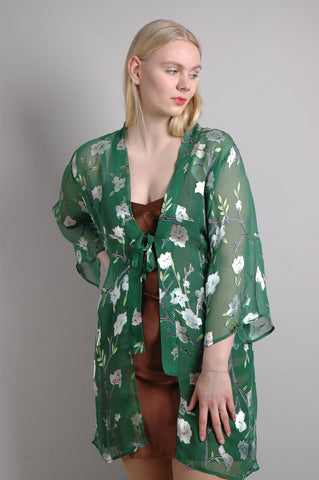 """Kimilong"" Long, open top, kimono style. Print ""Flower-Green"""