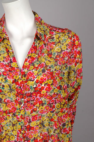 """Henrietta""Long shirt in 100% silk Crepe de Chine, flower (watercolour)print"