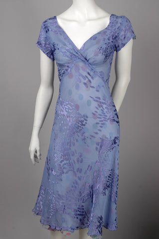"""B-Marvella"" Reversible dress, Midi length, short sleeves. Print ""Grouperdot/Lavendish"""