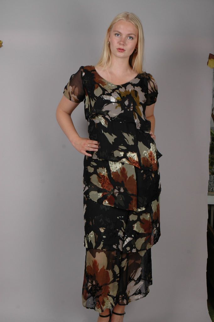 """Ann-Frida"" the magic dress. Layers of silk devore on a stretch satin ""slip"". ""Camofleur"""