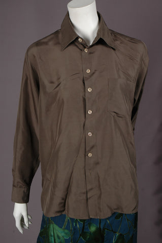 """Hans"" Habotai. Silk shirt in 100% habotai silk ""Army"""