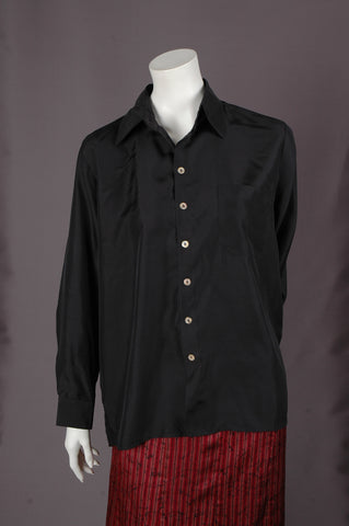"""Hans"" Habotai. Silk shirt in 100% habotai silk ""Black"""