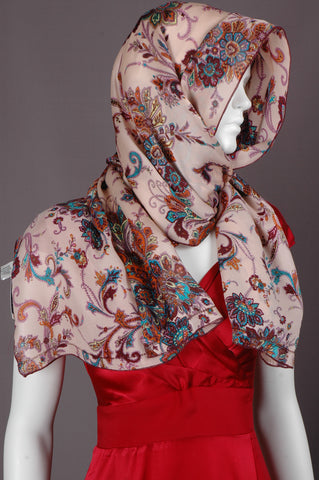"Pure Silk Scarf in satin-georgette. size 55X200 cm. Print ""Pairose"""