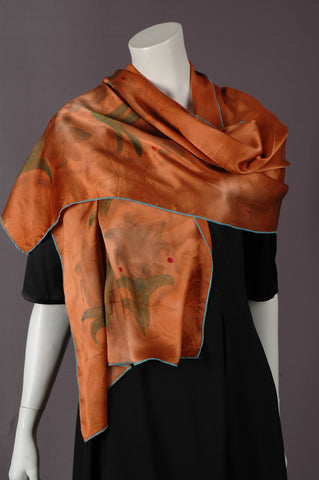 "Pure Silk Satin scarf. Oblong scarf in first quality silk satin (200X55 cm) ""Copper"""