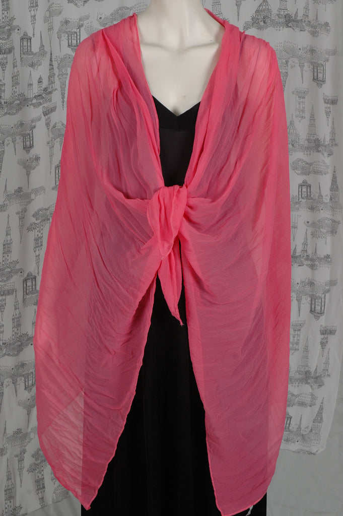 "Silk Georgette shawl, large ""Coral Red"""