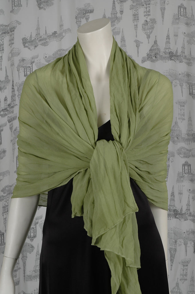 "Silk Georgette shawl, large ""Olive Green"""