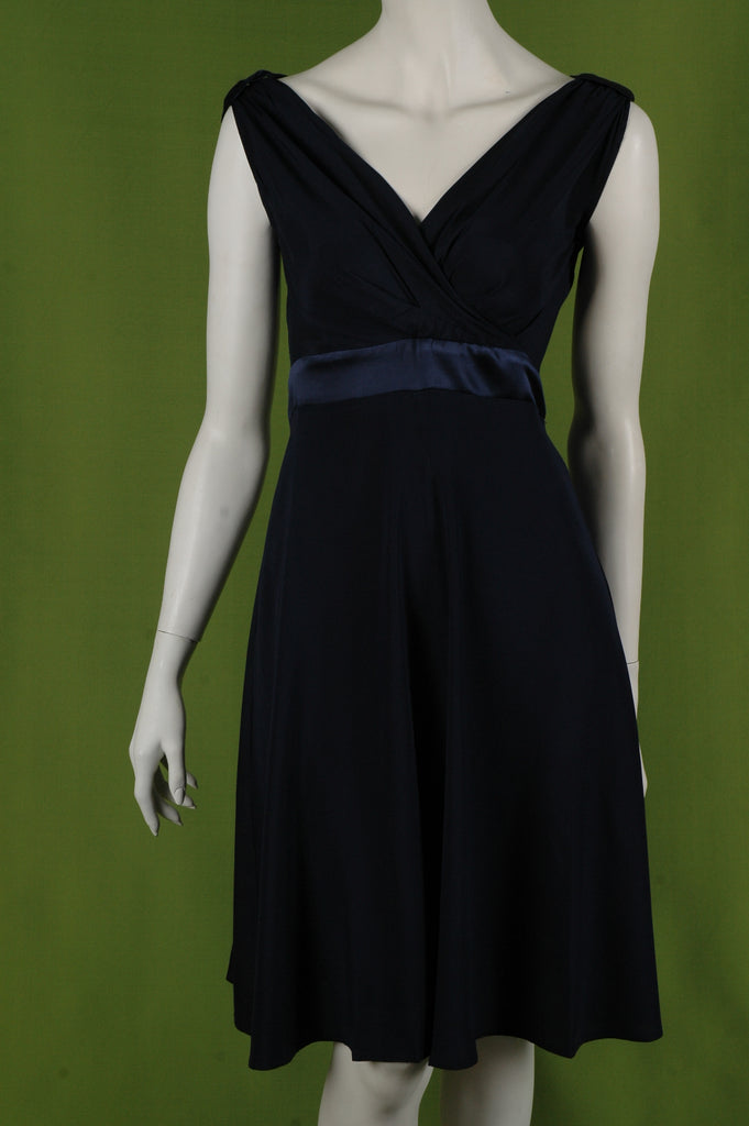 """Magda"" Stretch silk crepe-satin dress w. adjustable straps. Col: ""Midnight Blue"""