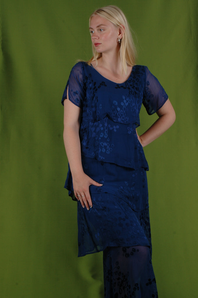 """Ann-Frida"" the magic dress. Layers of silk devore on a stretch satin ""slip"". ""Blue-flower-dot"""