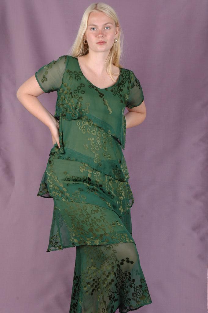 """Ann-Frida"" the magic dress. Layers of silk devore on a stretch satin ""slip"". ""Flower-dot-Green"""