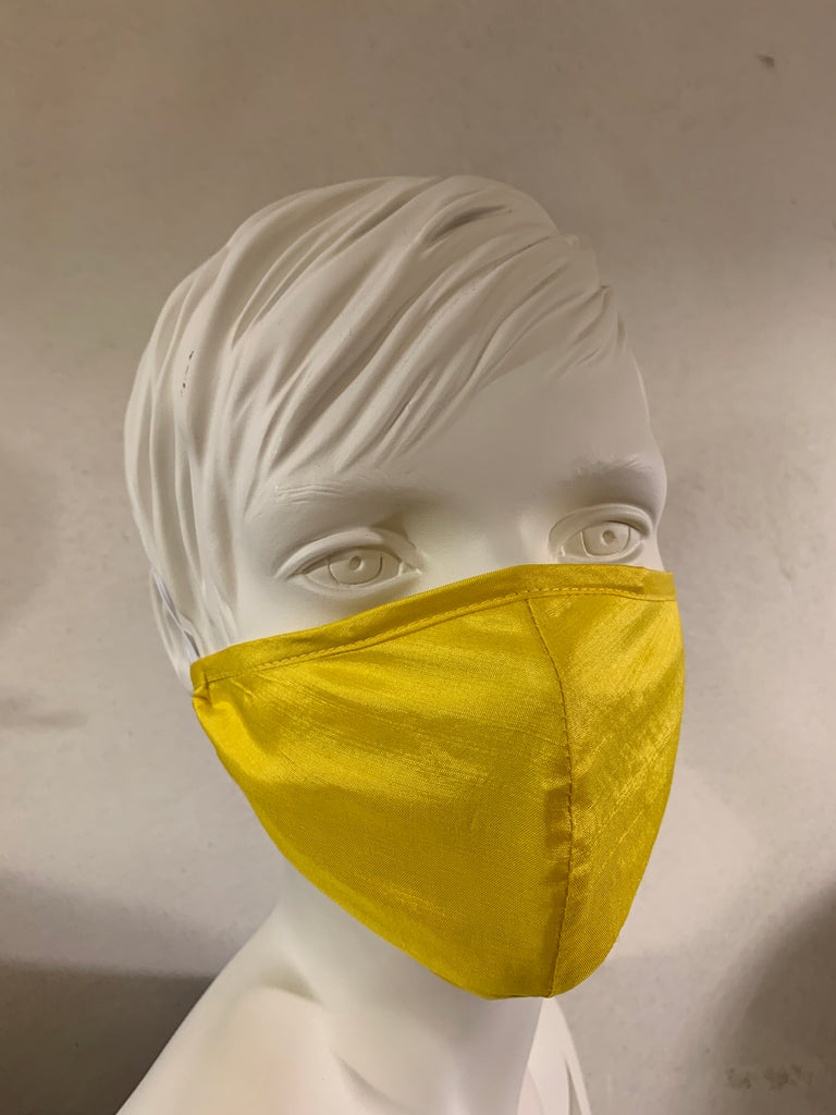Silk mask for protection of mouth and nose (Yellow)