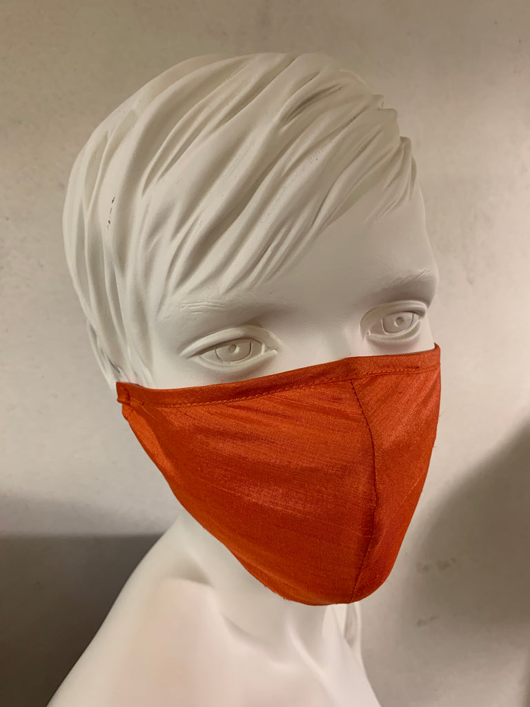 Silk mask for protection of mouth and nose (Orange)