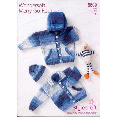 Stylecraft Knitting Pattern 8609 - Hooded Jacket, Collared Jacket and Beanie Hat (Baby & Toddler sizes)