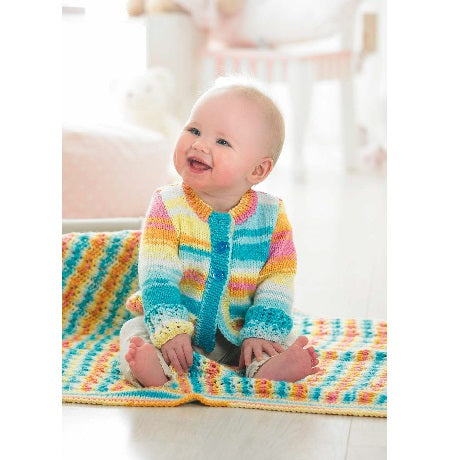 Stylecraft Knitting Pattern 8968 - Cardigan and Blanket in Merry Go Round