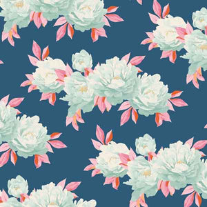 Tilda Minerva Blue Cotton Fabric, Cottage Collection, Tilda Fabric 481528 - Fabric and Ribbon