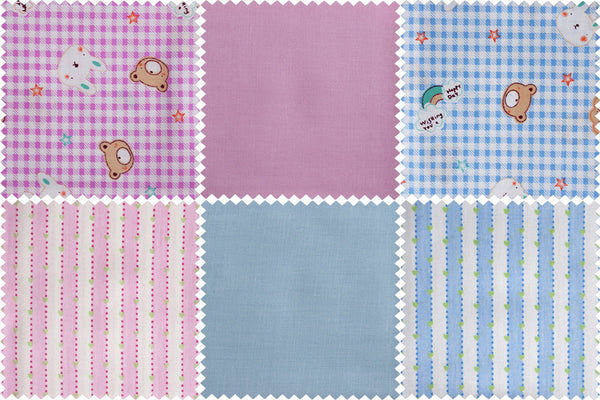 Fat Quarter Bundle, Kid's Bunny and Teddy Cotton Fabrics, 6 Child's Blue and Pink Bunny and Teddy Fat Quarters