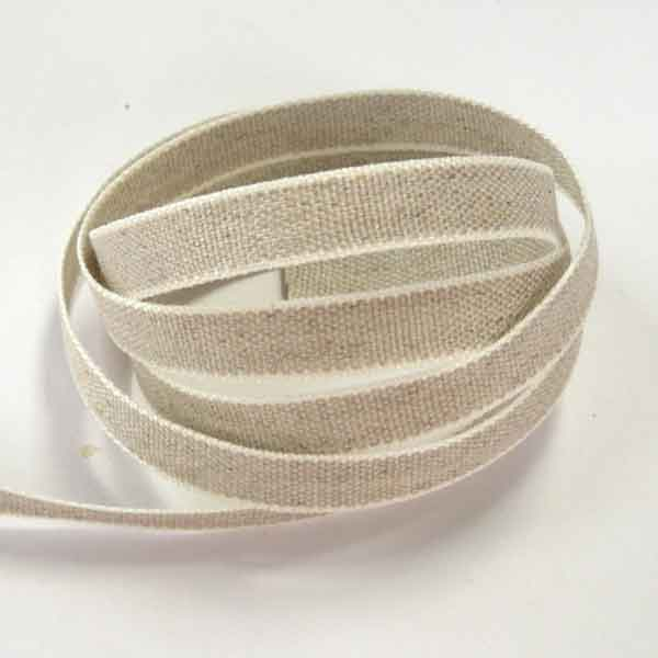 15 mm Linen Ribbon by La Stephanoise, 5/8 inch Natural Linen Ribbon with White Edges - Fabric and Ribbon