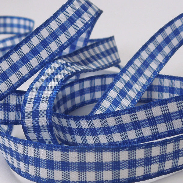 Royal Blue Gingham Woven Ribbon 5 mm, 10 mm, 15 mm width, Blue and White Checked Ribbon