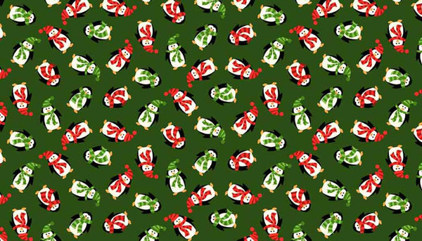 Christmas Mini Penguins Cotton Fabric by Makower, Kid's Green Xmas Mini Penguins Pure Cotton Fabric