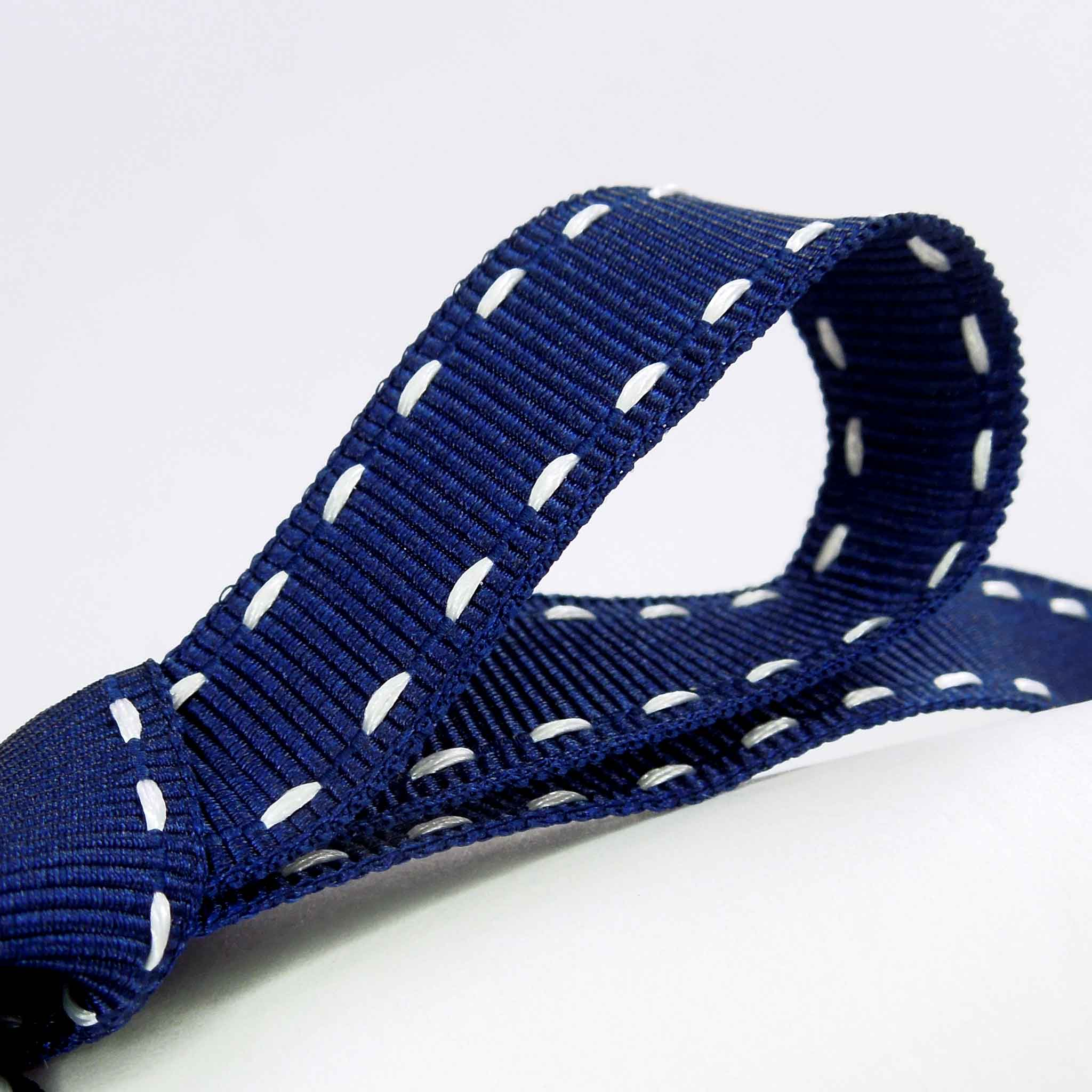 15 mm Stitched Grosgrain Navy Blue and White Ribbon