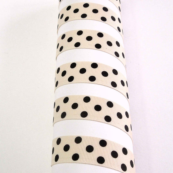15 mm Black on Natural Spotty Grosgrain Ribbon