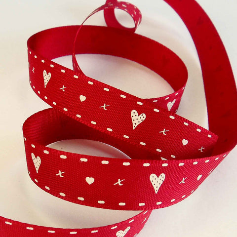 15 mm Hearts and Kisses Red Ribbon by Berisfords