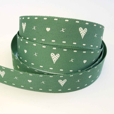 15 mm Hearts and Kisses Green Ribbon by Berisfords