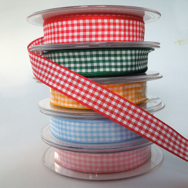 Red  Gingham Woven Ribbon 5 mm, 10 mm, 15 mm width, Red and White Checked Ribbon