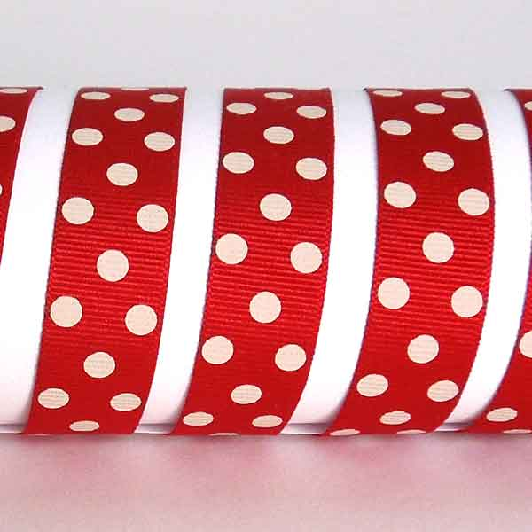 15 mm Red and Ivory Spotty Grosgrain Ribbon