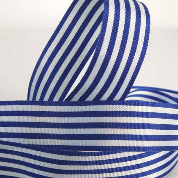 Royal Blue and White Striped Ribbon, 9 mm, 16 mm, 25 mm Width