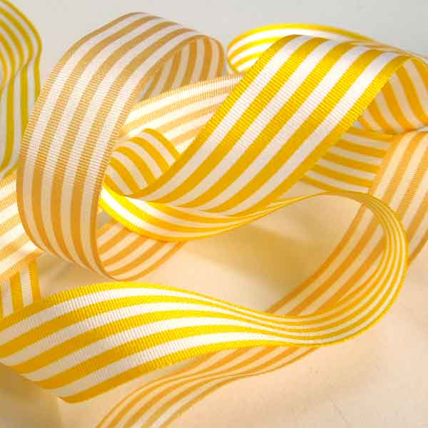 Yellow and White Striped Ribbon, 9 mm, 16 mm, 25 mm Width