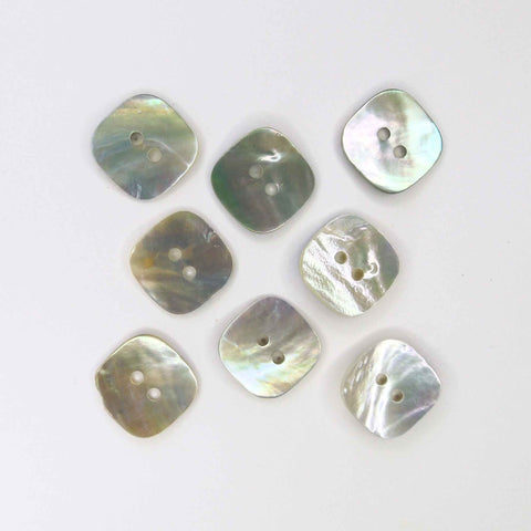 17 mm mm Square Natural Shell Buttons, 2 Hole Buttons, Pack of 8