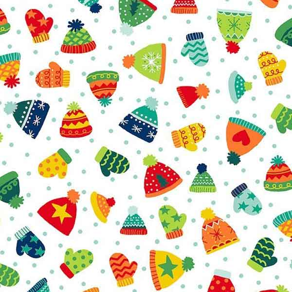 Xmas Hats and Mittens Cotton Fabric by Makower 1810, Novelty Christmas Collection