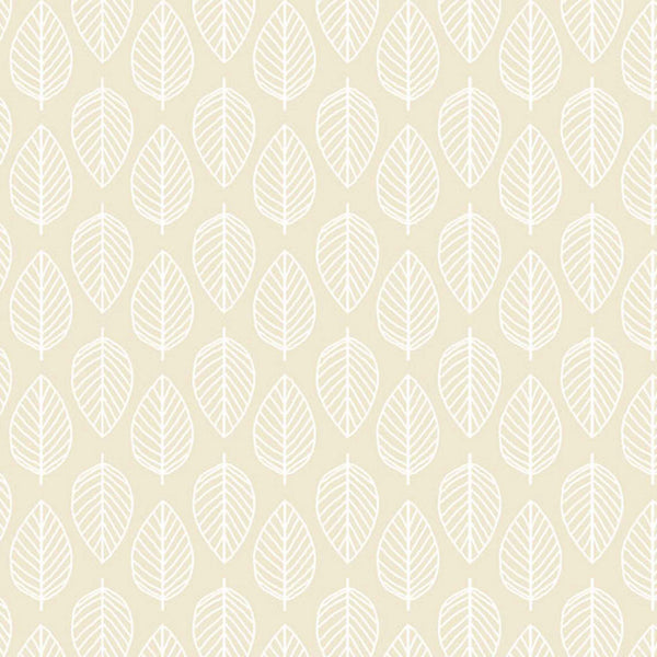 Leaf Pearl Cotton Fabric by Makower, 1910/Q3 from their Essentials Collection, White Leaf on Dark Cream Fabric