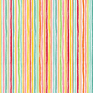 Multicoloured Chalk Stripe Cotton Fabric by Makower 1947/M Fruity Friends Collection