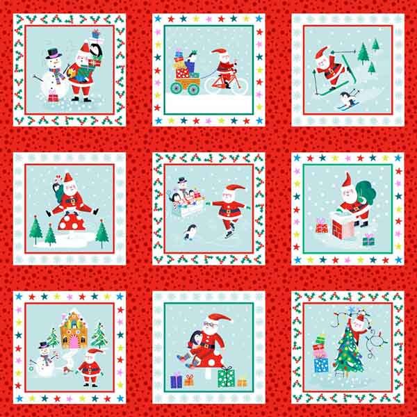 Kid's Red Santa Labels Cotton Fabric by Makower 1955/1, Jolly Santa Collection - Fabric and Ribbon