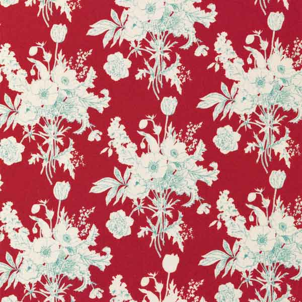Tilda Botanical Red Cotton Fabric, Cottage Collection, Tilda Cotton Fabric 481510 - Fabric and Ribbon