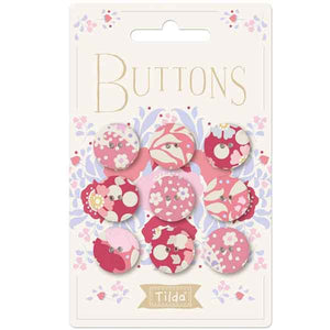 Tilda 17 mm Buttons, Plum Garden Buttons, 400024, Pack of 9  Tilda Fabric Covered Buttons - Fabric and Ribbon